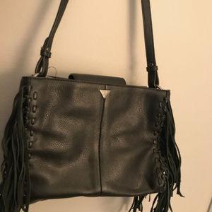 Sam Edelman Black Leather Fringe Hand Bag